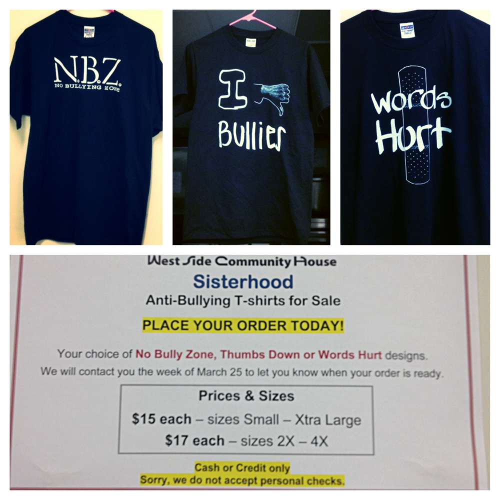 To order an Anti-Bullying T-Shirt call 216-771-7297 ext.315