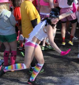 Leah running in her Undies in Cupid's Undie Run 2015