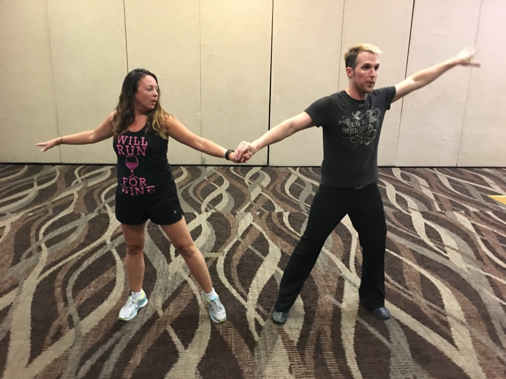 Nick and I rehearsing our dance number