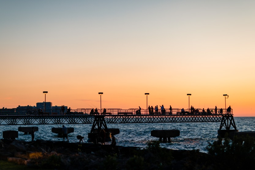 edgewater pier at sunset