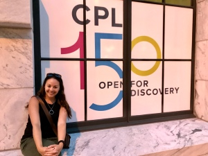 Leah in front of CPL 150 sign